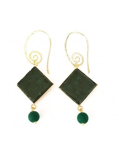 orecchini siciliani in pietra lavica verde smeraldo