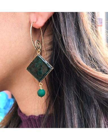 orecchini in pietra lavica e ceramica- orecchini verde smeraldo