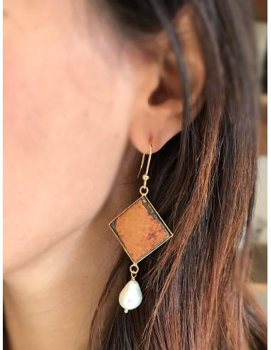 orecchini pendenti in pietra lavica