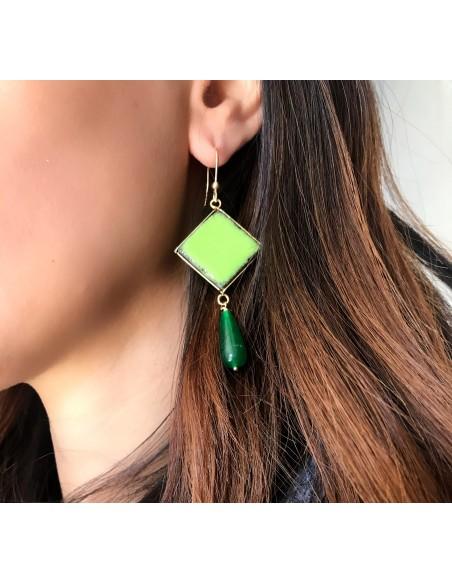 orecchini siciliani in pietra lavica verde prato