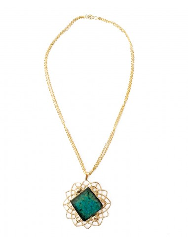 collana girocollo in argento e ciondolo pietra lavica verde smeraldo