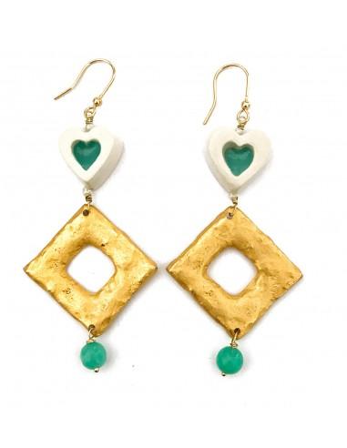 orecchini verde tiffany con cuore in ceramica