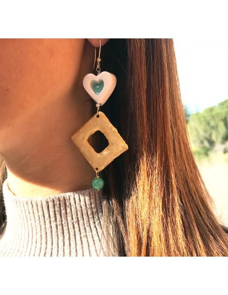 orecchini siciliani con cuore in ceramica