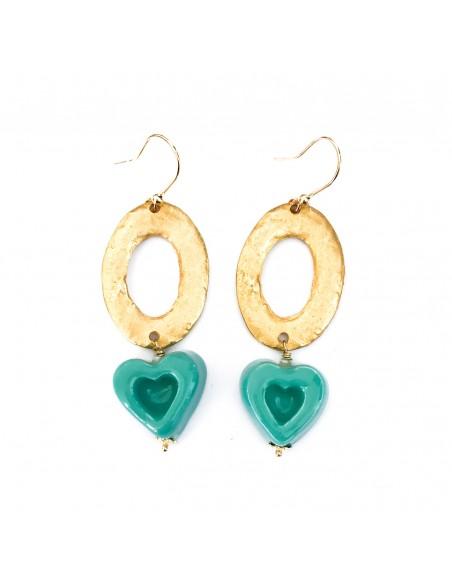 orecchini siciliani cuore in ceramica verde tiffany