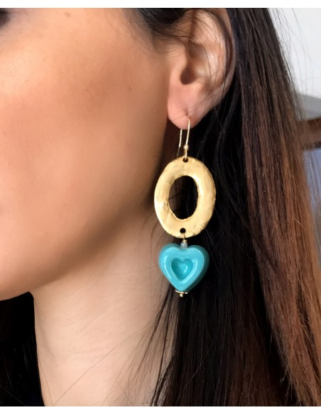 orecchini cuore in verde tiffany - gioielli in ceramica La Moramora