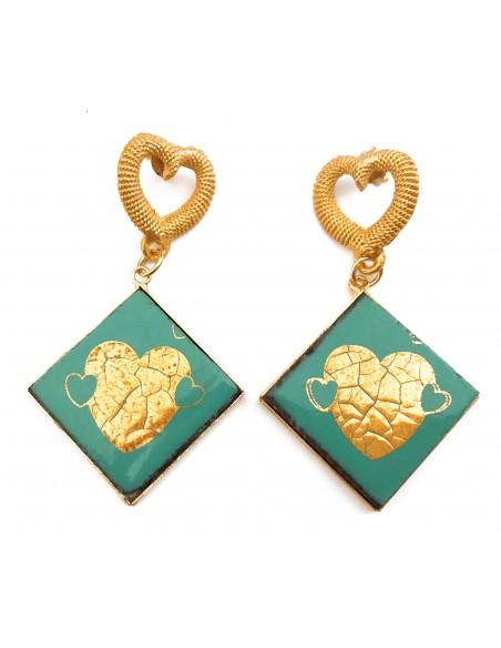 orecchini pendenti color verde tiffany con cuore