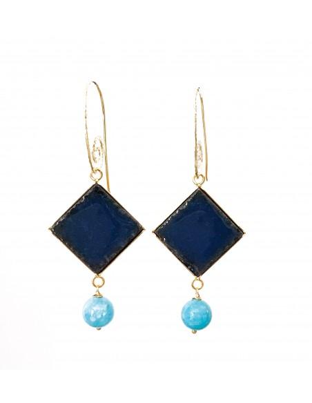 orecchini siciliani in pietra lavica blu notte