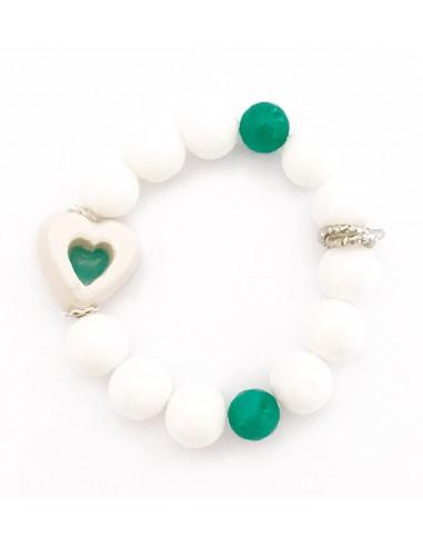 bracciale pietre dure e cuore in ceramica verde tiffany