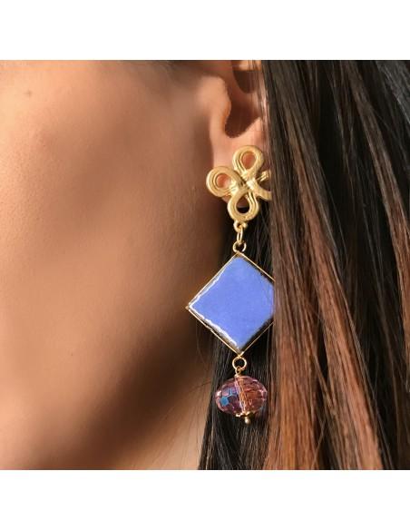 orecchini pendenti in pietra lavica - orecchini siciliani