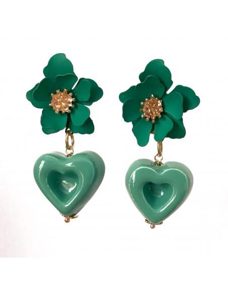 orecchini verde tiffany con cuore e fiore