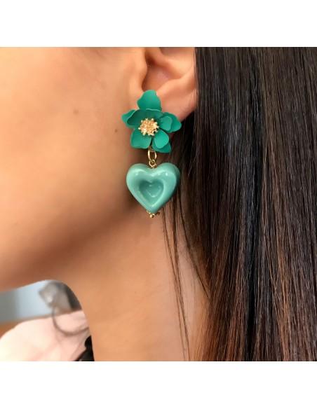 orecchini verde tiffany con cuore