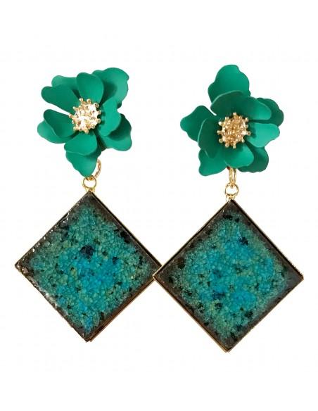 orecchini verde acqua con fiore - orecchini in pietra lavica