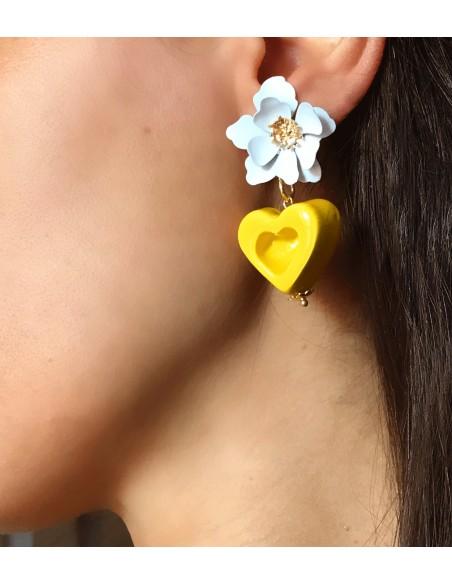 orecchini glamour! Orecchini con fiore e cuore