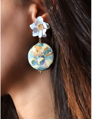 orecchini pendenti in ceramica con fiori - orecchini fiore