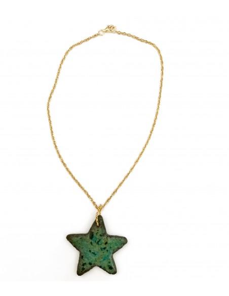 collana siciliana con ciondolo in pietra lavica stella marina