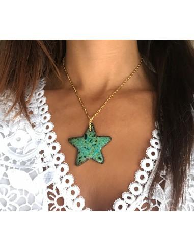 collana in argento e ciondolo stella marina in pietra lavica