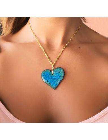 collana siciliana in argento con cuore in pietra lavica dell'Etna