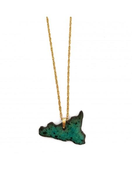 collana in argento e sicilia in pietra lavica dell'Etna