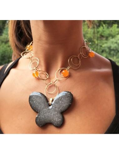 collana in argento 925 con ciondolo farfalla