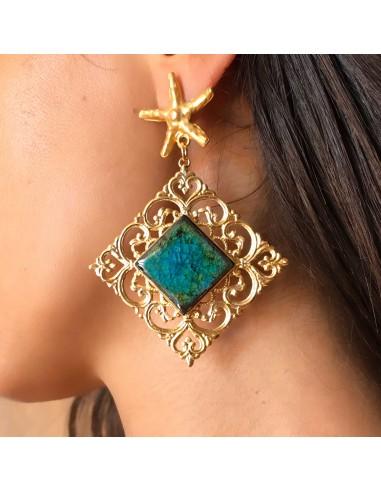 orecchini in pietra lavica dell'Etna verde smeraldo