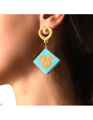 orecchini verde tiffany con cuore - orecchini pietra lavica dell'Etna