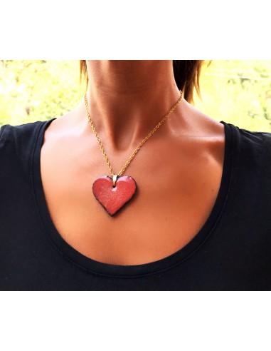 collana in argento 925 con charm cuore in pietra lavica dell'Etna