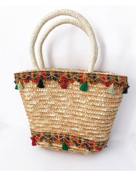 borsa in paglia da mare realizzata a mano - coffa siciliana