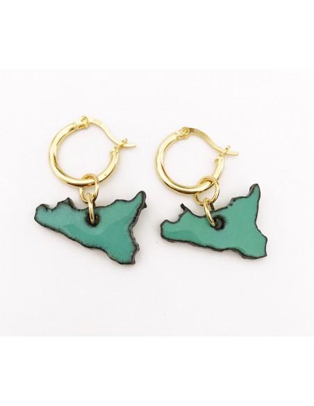 orecchini Sicilia in verde tiffany - gioielli siciliani