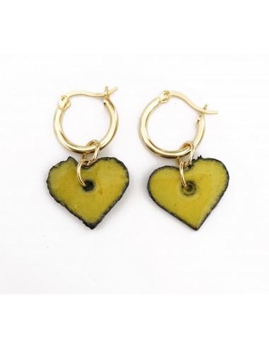 orecchini cuore in pietra lavica e argento 925