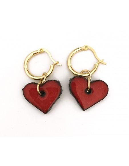 orecchini siciliani in pietra lavica - orecchini cuore