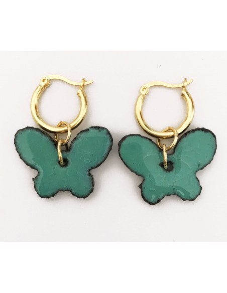 orecchini farfalla in verde tifanny - gioielli siciliani