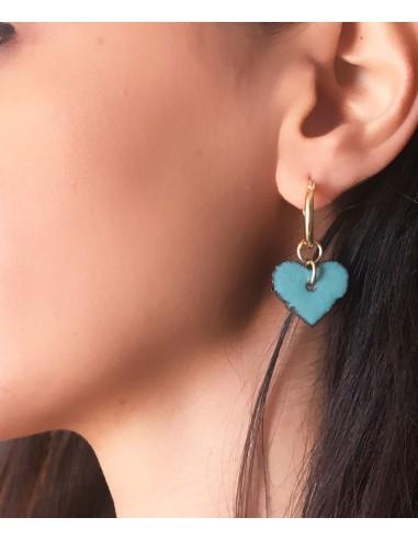 orecchini in argento e cuore in pietra lavica dell' Etna
