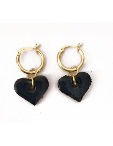 orecchini cuore in pietra lavica dell' Etna e argento sterling - orecchini siciliani