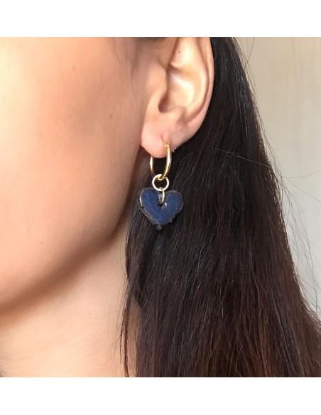 orecchini siciliani cuore in lava dell' Etna