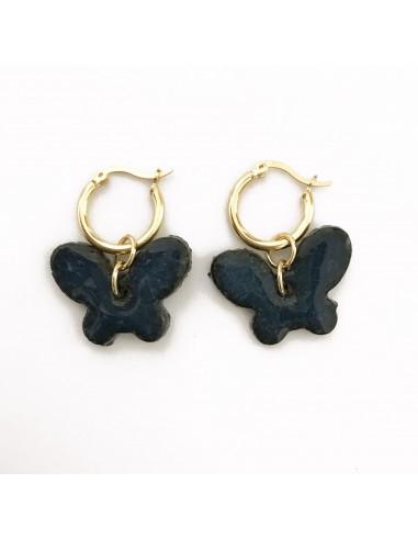 orecchini farfalla in pietra lavica dell'Etna - gioielli made in Sicily