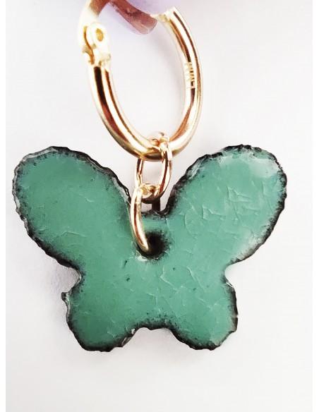 orecchini farfallina in verde tiffany