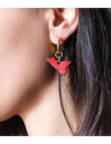 orecchini siciliani in pietra lavica dell'Etna - gioielli sicilia