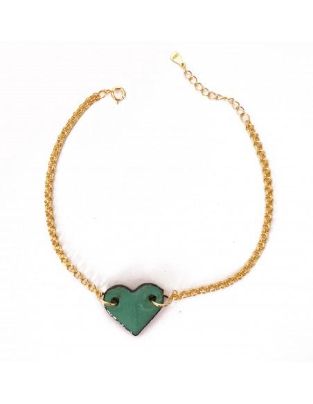 braccialetto con ciondolo cuore in verde tiffany