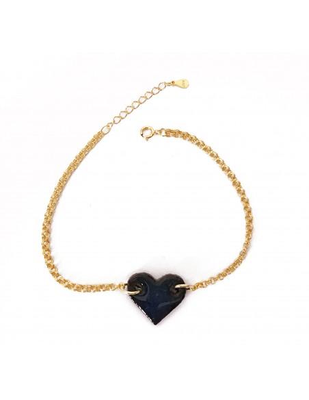 braccialetto con charm cuore in pietra lavica dell'Etna