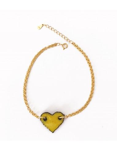 braccialetto donna con ciondolo cuore in lava dell'Etna