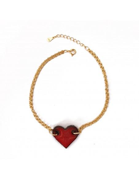 bracciale con ciondolo cuore - gioielli in pietra lavica