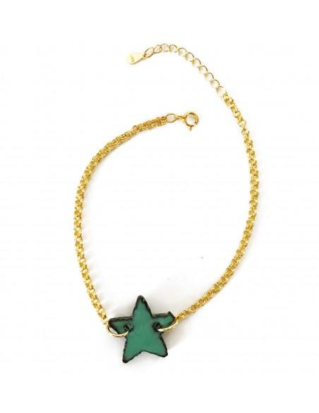 bracciale in argento con charm stella verde tiffany - gioielli in pietra lavica