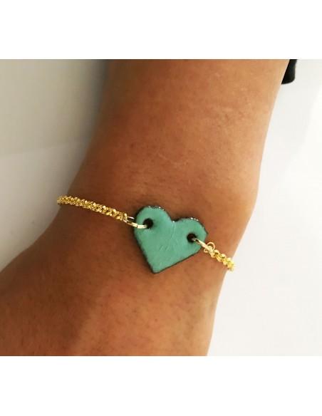 braccialetto con ciondolo cuore verde tiffany