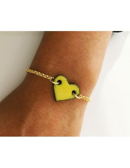 braccialetto con charm cuore in pietra lavica - bracciali in pietra lavica