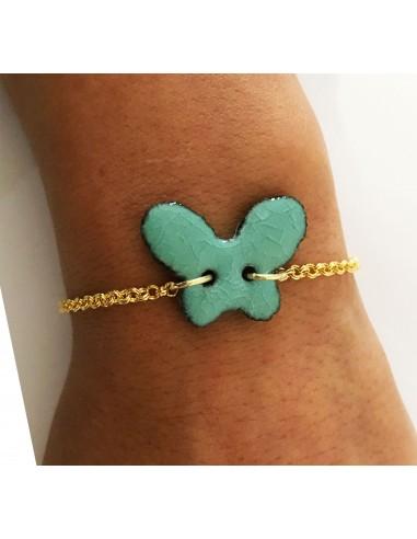 bracciale in pietra lavica , charm farfalla verde tiffany