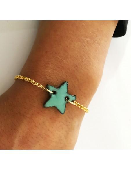bracciali donna pietra lavica - ciondolo stella