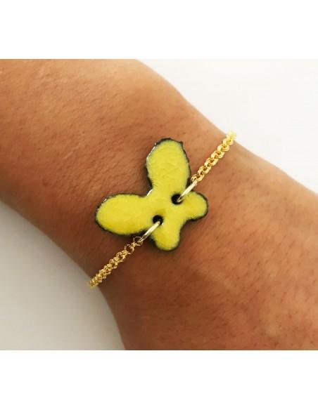 bracciale con charm farfalla - gioielli siciliani in pietra lavica
