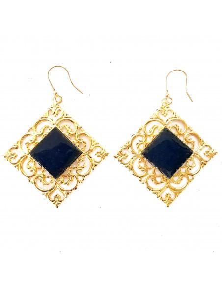 gioielli in pietra lavica - orecchini in pietra lavica e argento
