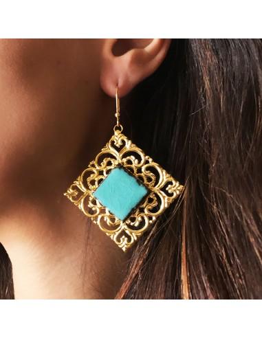 orecchini donna in pietra lavica - orecchini filigrana