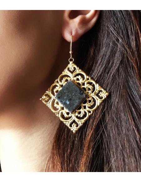 gioielli siciliani in pietra lavica - orecchini in pietra naturale lavica